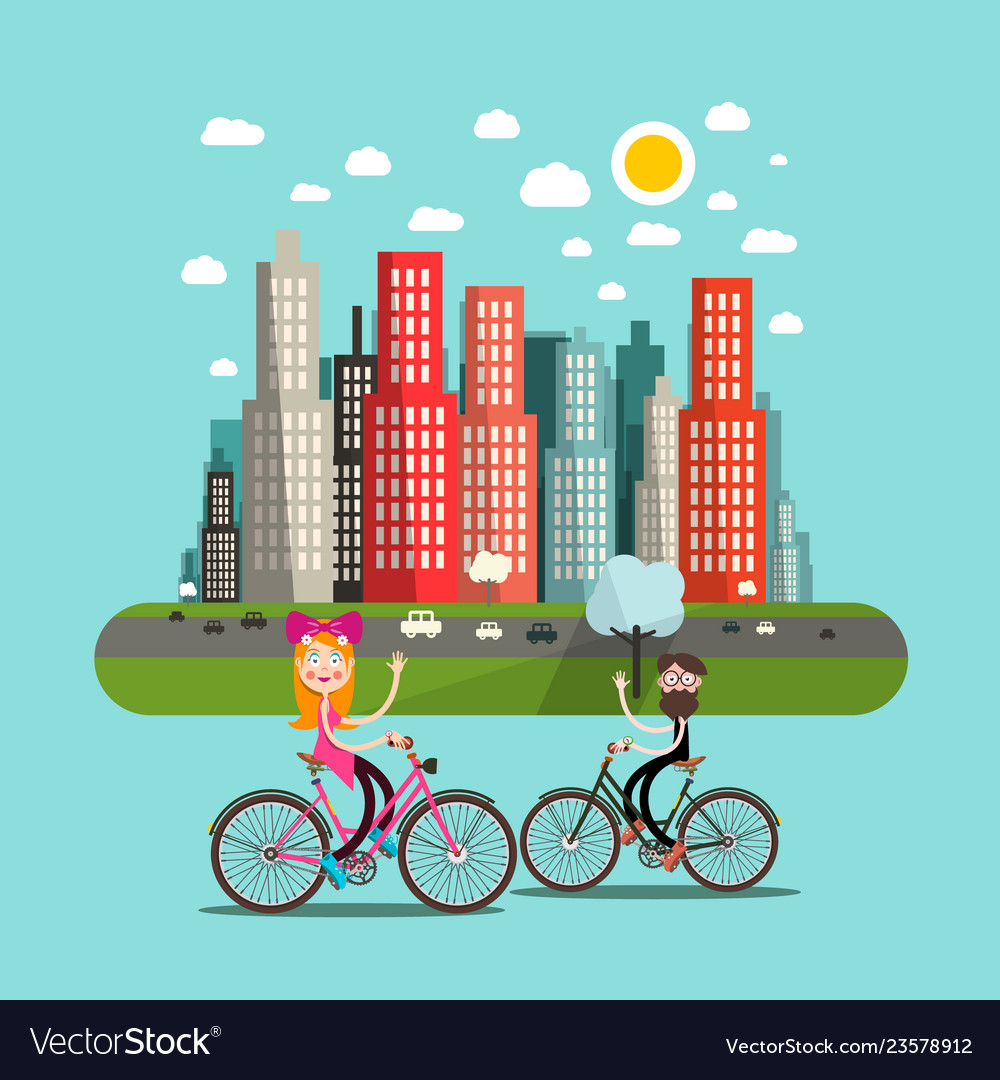 City with people on bicycles and skyscrapers