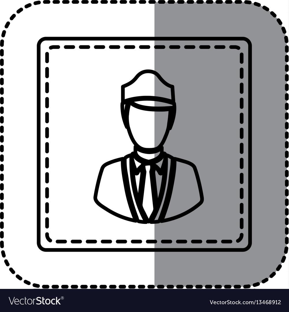 Contour emblem guard person icon