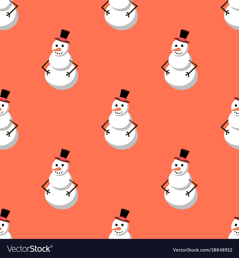 Cute snowman merry christmas seamless pattern vector image
