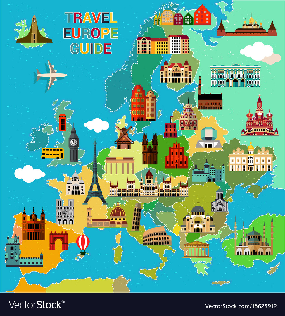 Europe Travel Map Royalty Free Vector Image Vectorstock