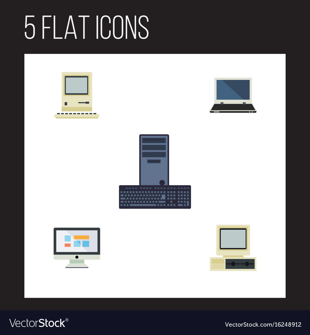 Flat icon laptop set of computer display