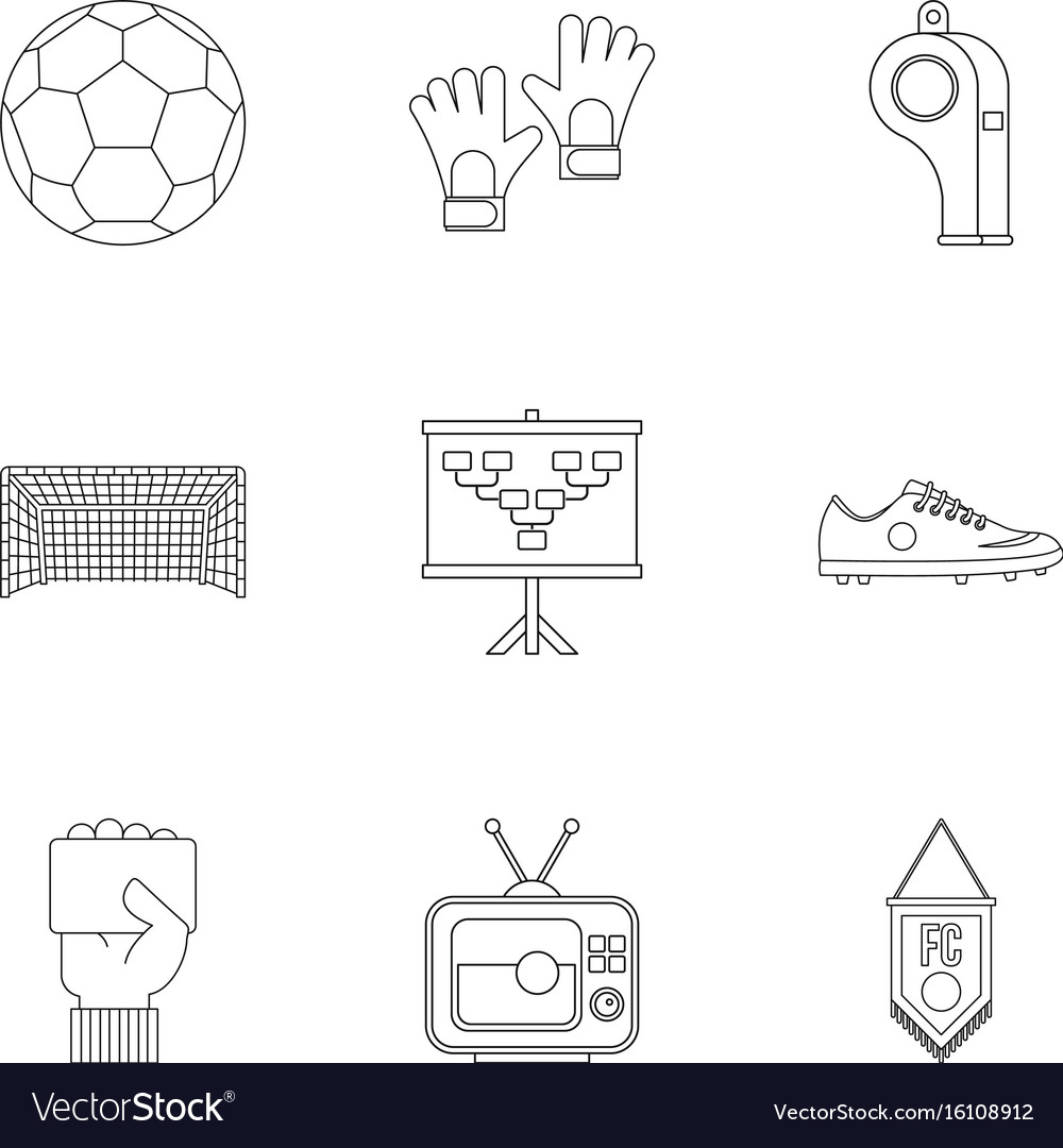 Football equipment icons set outline style