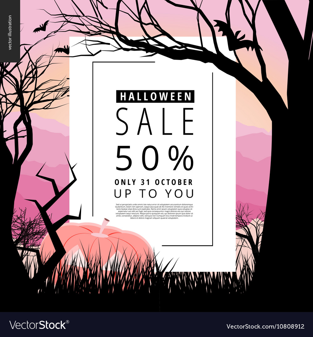 Halloween Sale Notice Poster Vector Image
