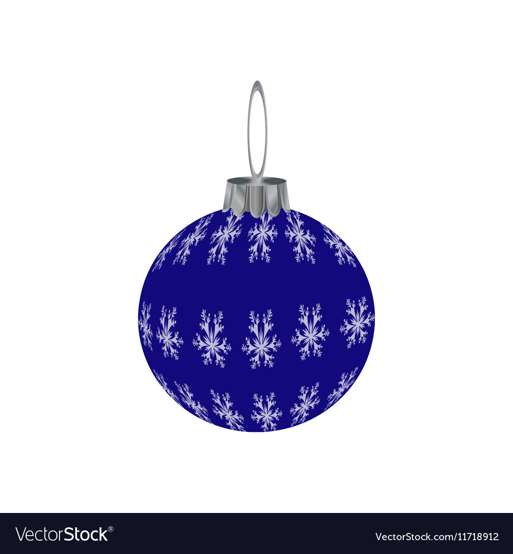 Happy New Year Hanging Blue Bubble with snowflaks vector image