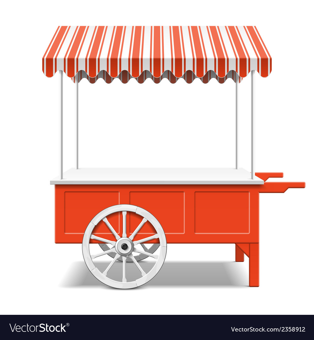 Red farmers market cart vector image