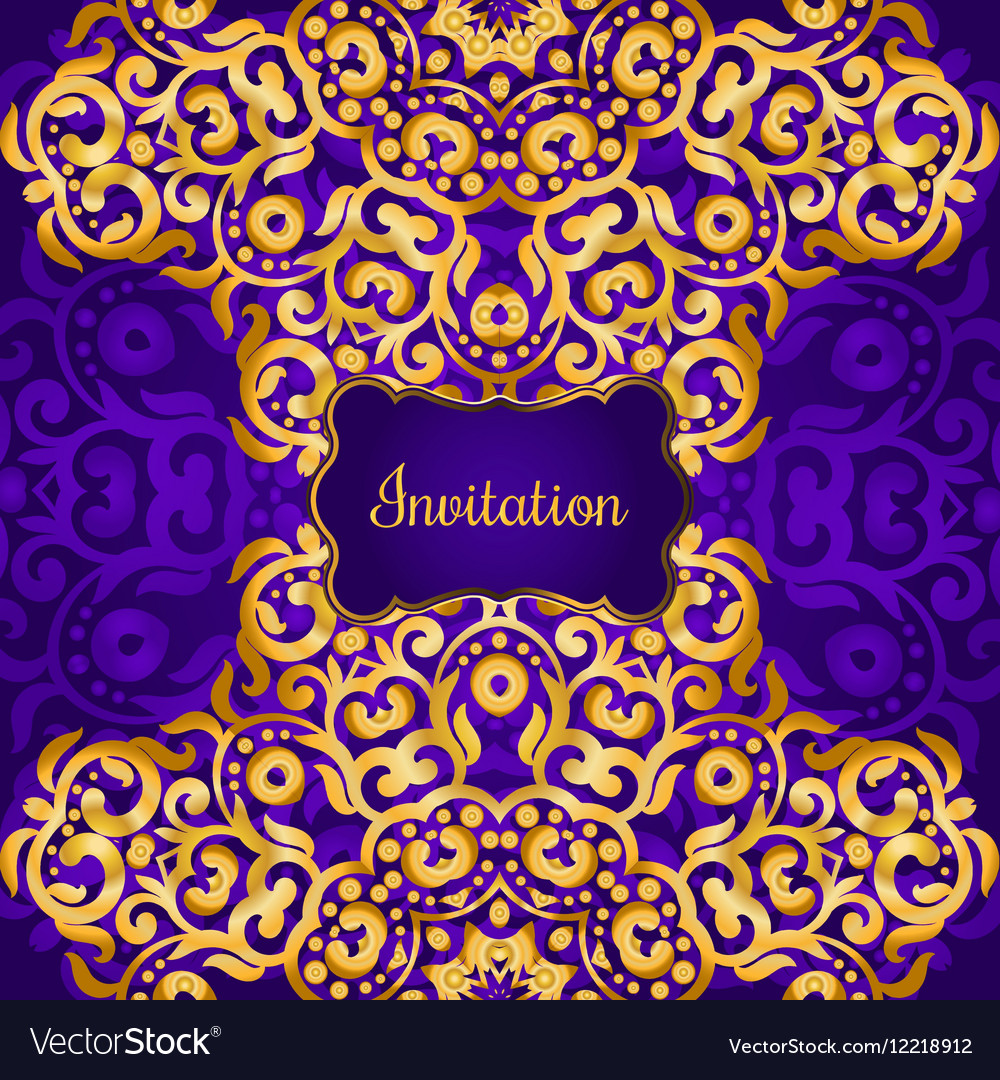 Rich gold invitation card in the indian style vector image stopboris Image collections