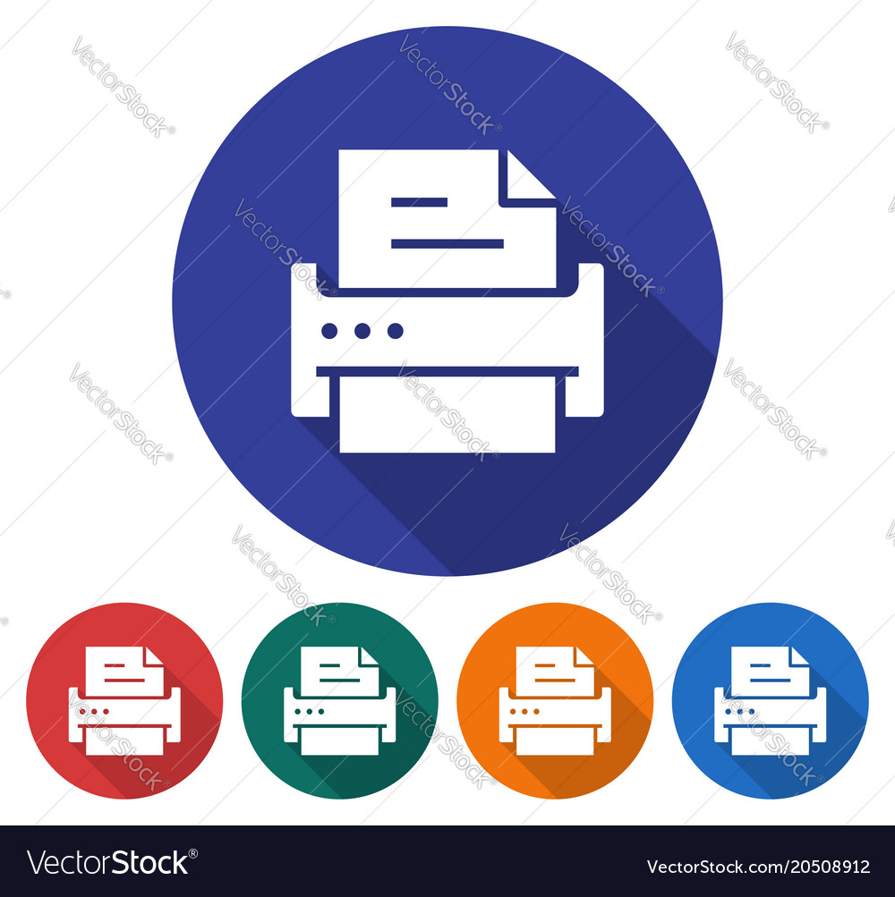 Round icon of printer flat style with long shadow