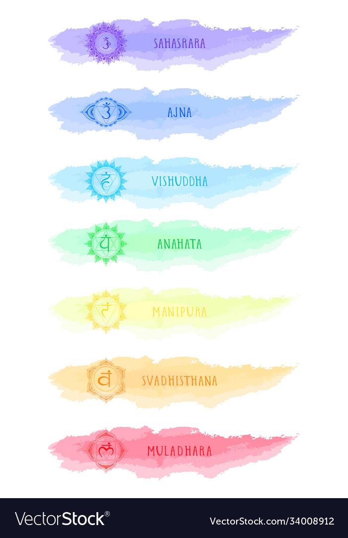 Seven chakra symbols