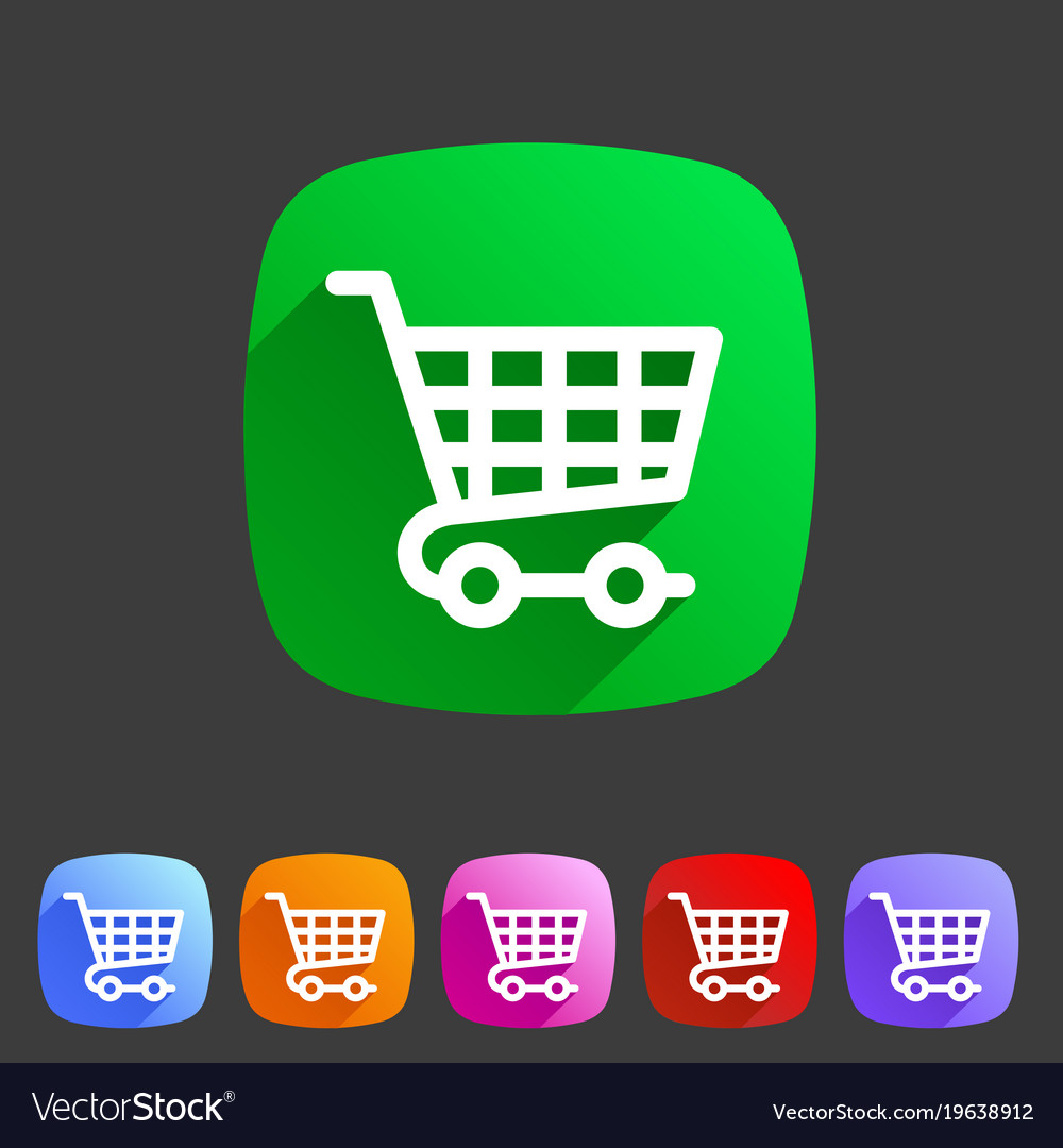Shopping cart icon flat web sign symbol logo label