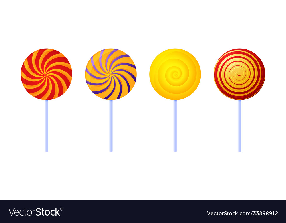 Swirl lollipops colored sugar candies isolated