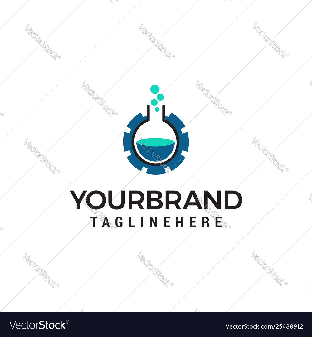 Technology laboratory logo design concept template