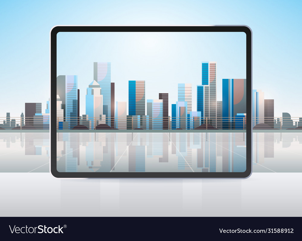 Transparent tablet computer screen cityscape