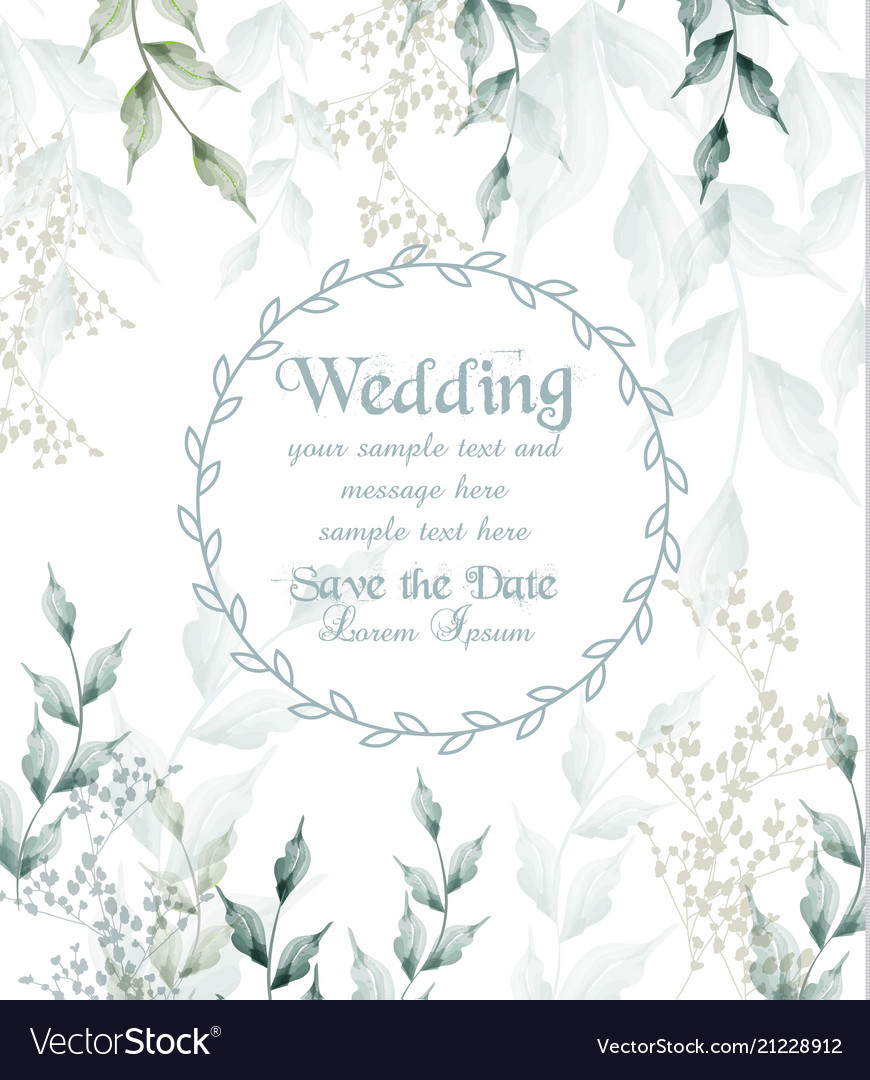 Wedding card round frame watercolor green leaves