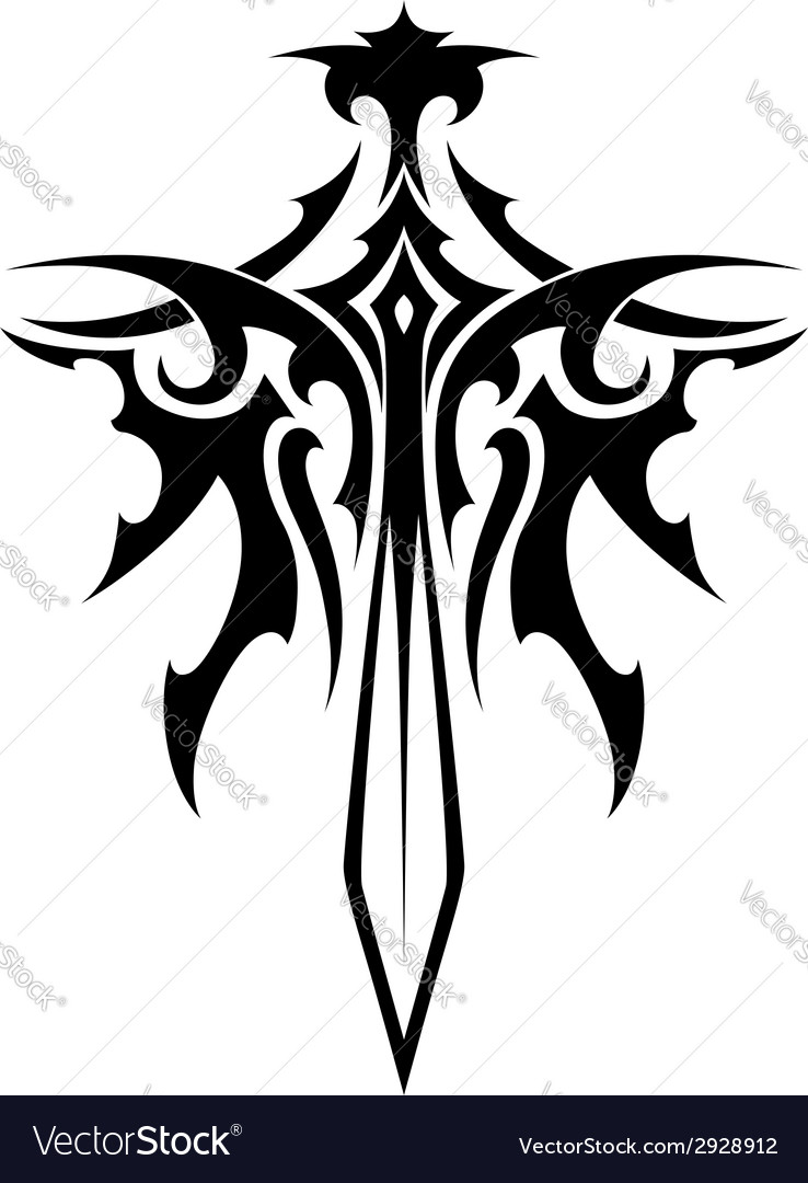 Winged Sharp Sword Tattoo Royalty Free Vector Image