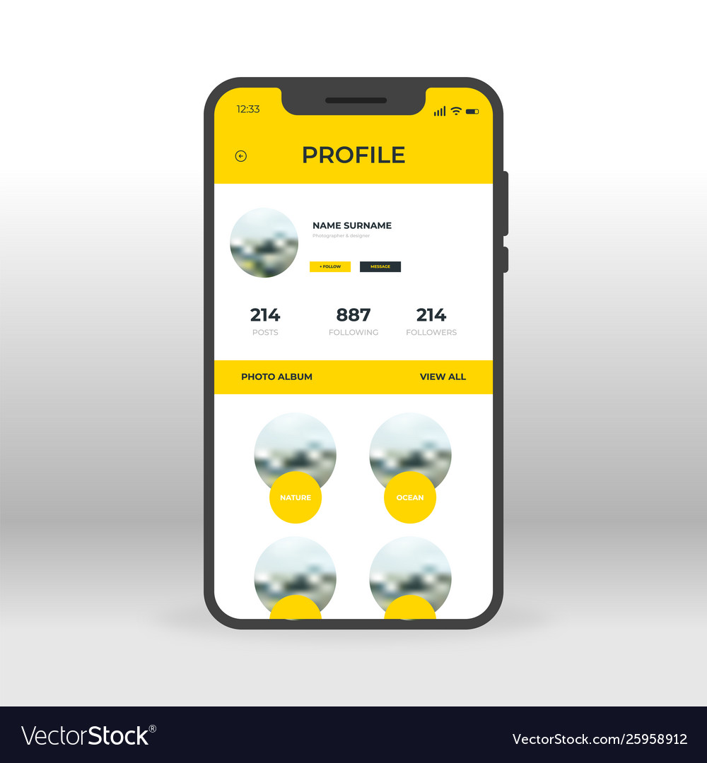 Yellow social network profile ui ux gui screen
