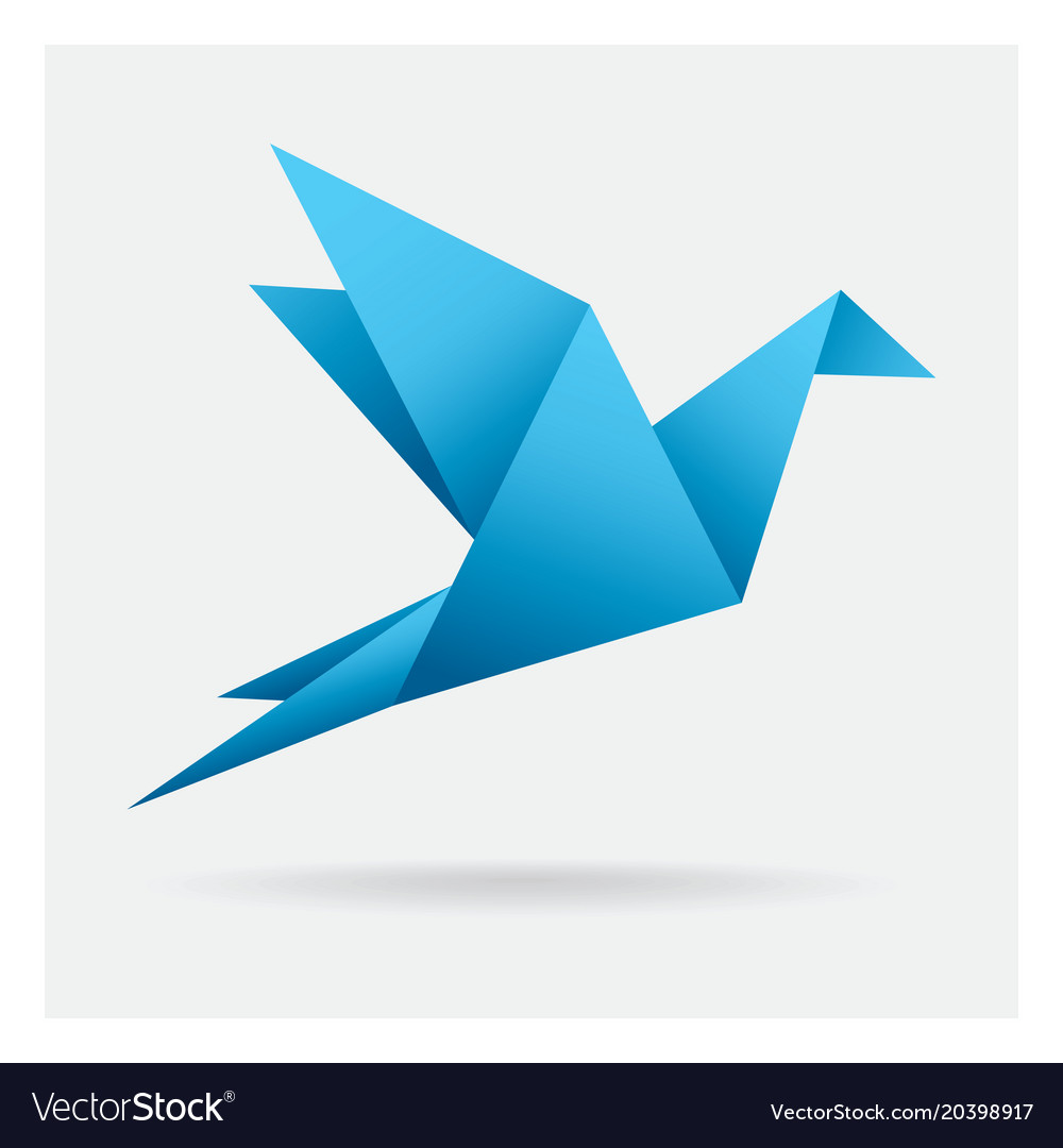 Blue bird paper craft flying in frame art vector image