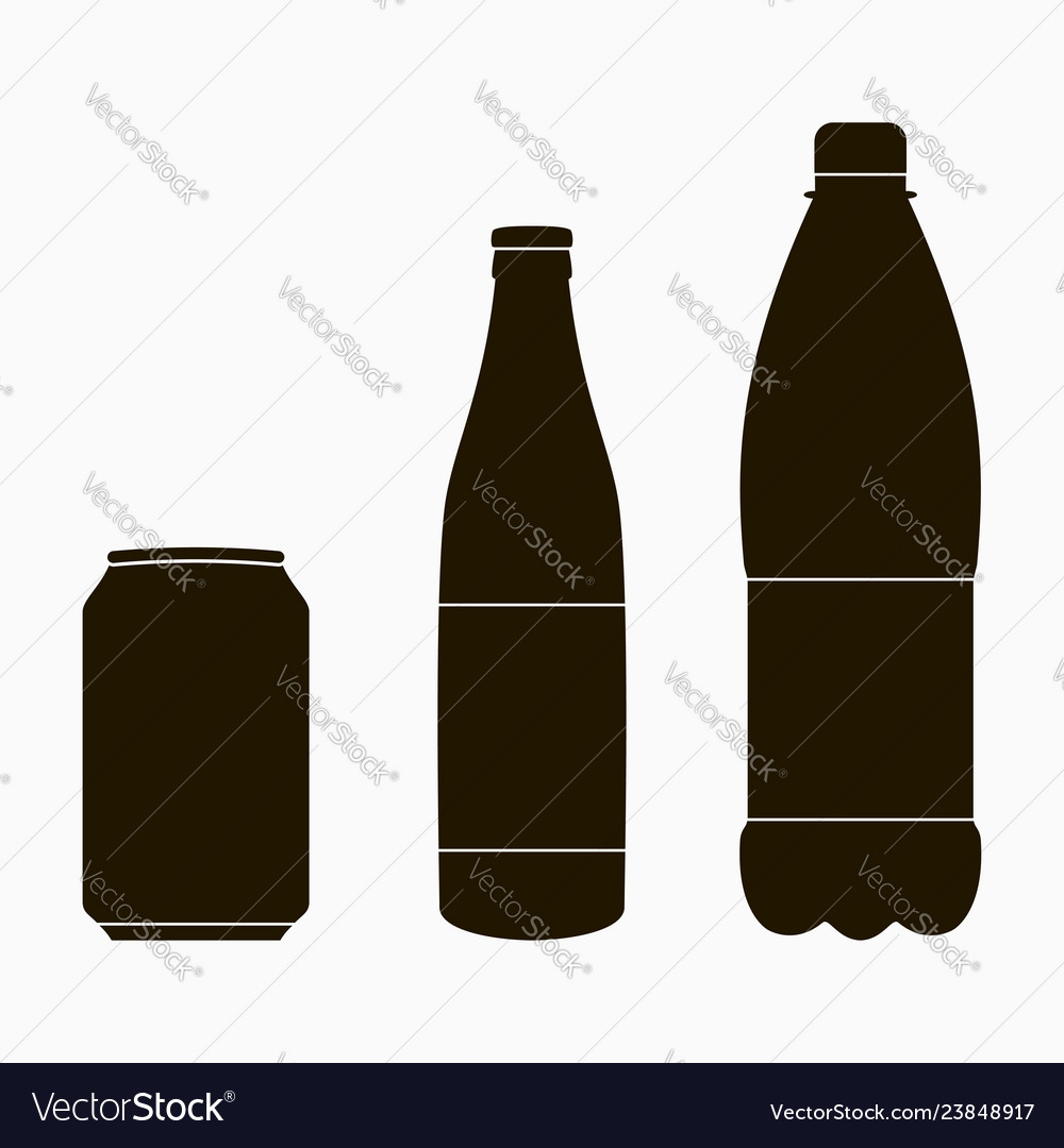 Bottle icons set - metal can glass and plastic