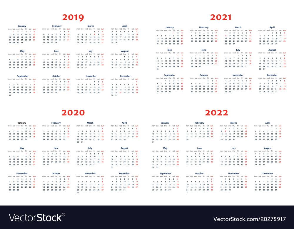 2022 19 Calendar.Calendar For 2019 2022 Years Royalty Free Vector Image