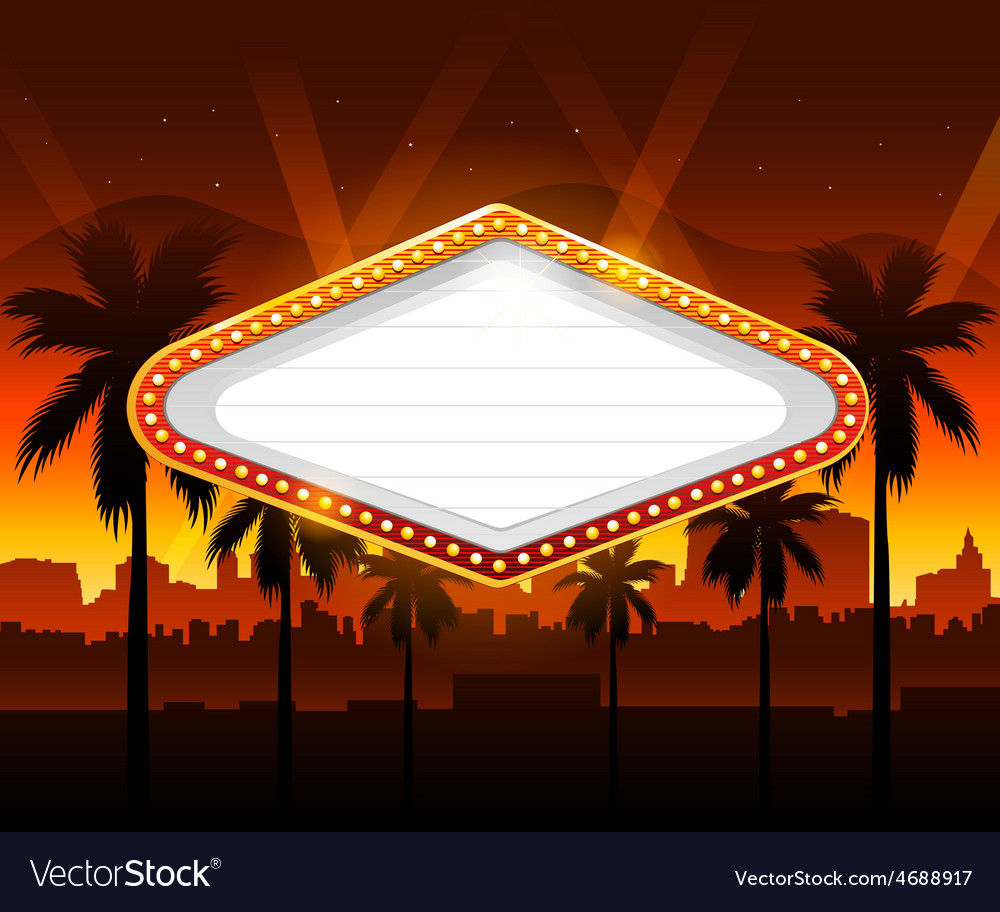 Casino banner with vegas city in background vector image