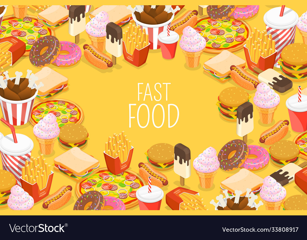 Fast food background with hot dog ice drink