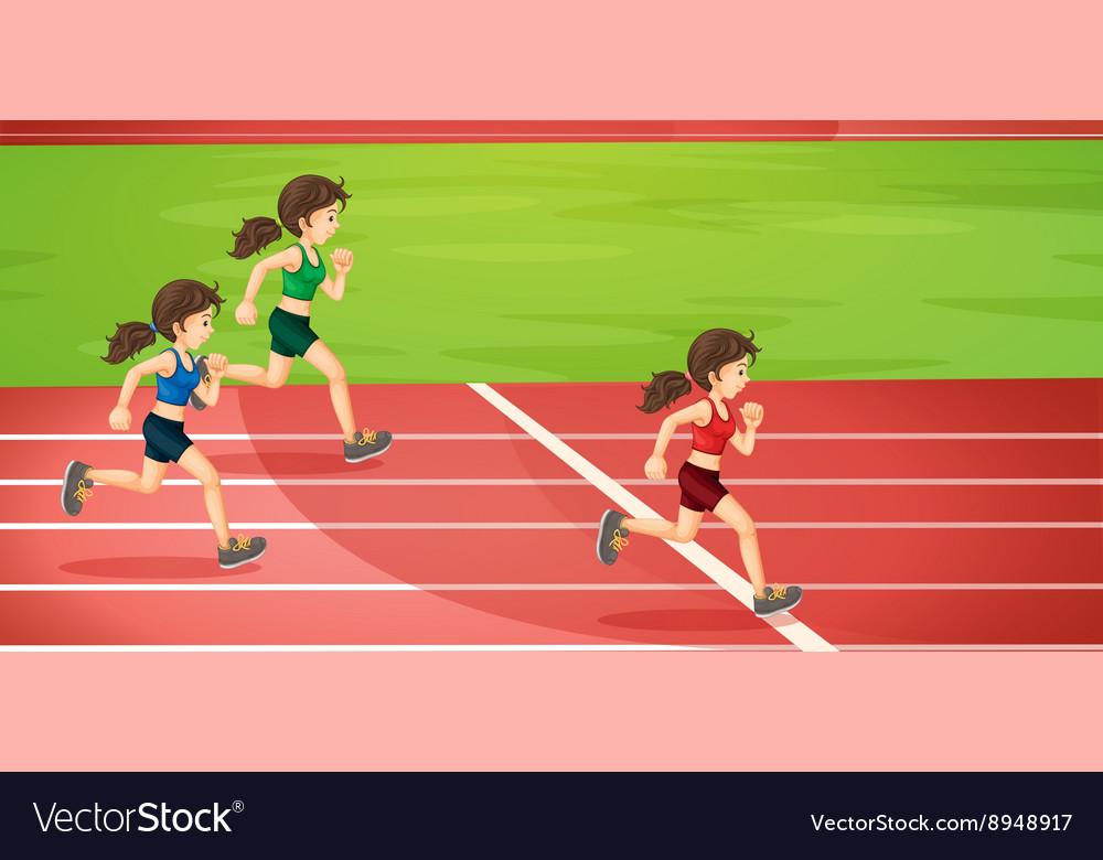 Girls running in tracks Royalty Free Vector Image