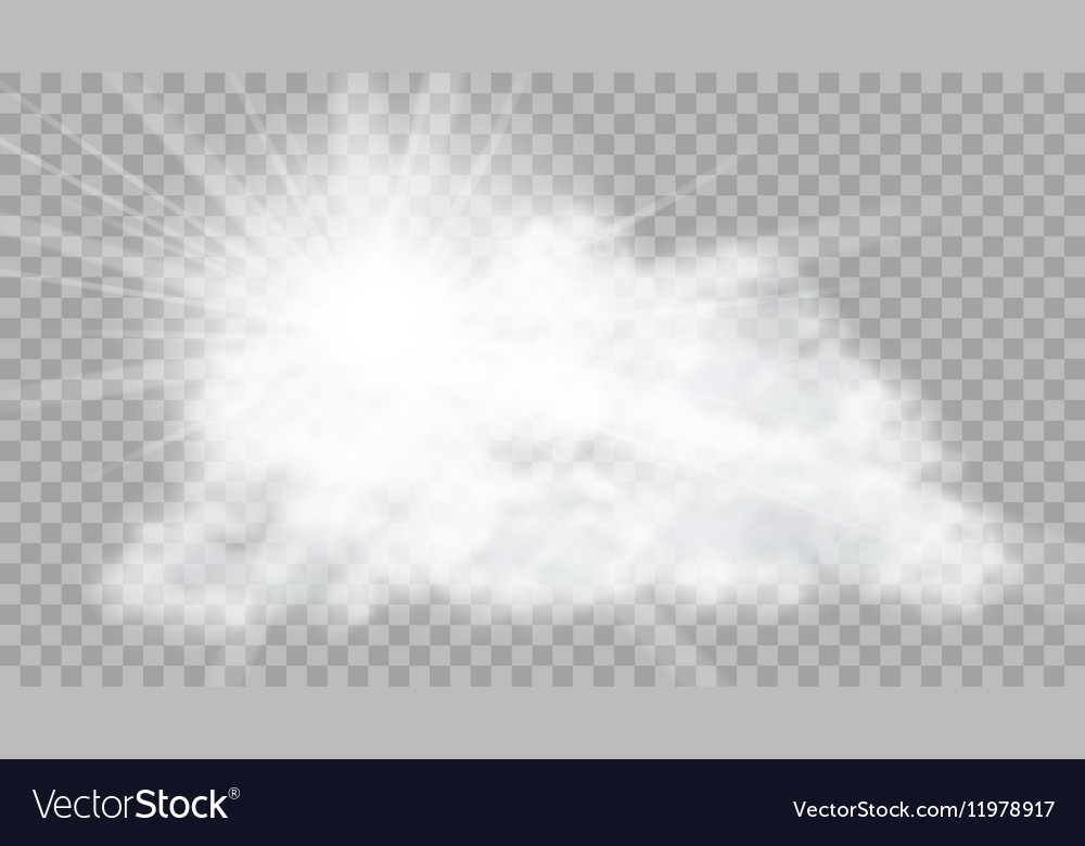 Realistic Cloud With Sun Flare On Transparent vector image