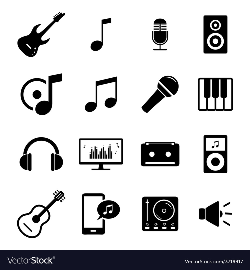 Set flat icons - audio music and sound related