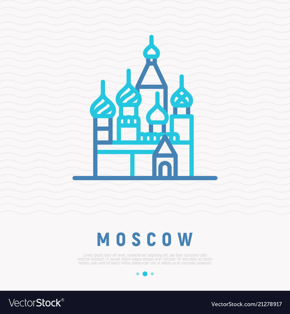 St basils cathedral in moscow thin line icon