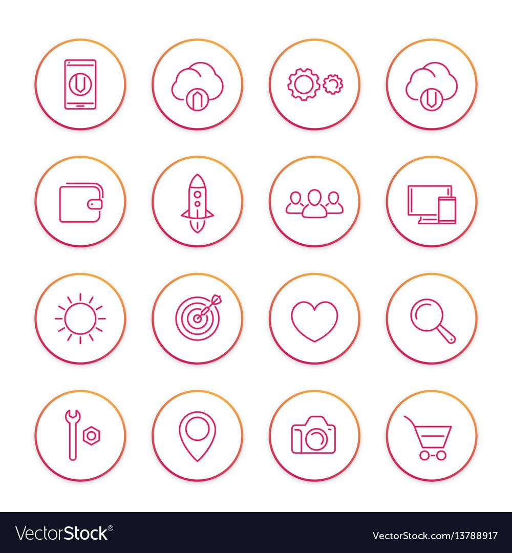 Thin line web icons set basic interface elements