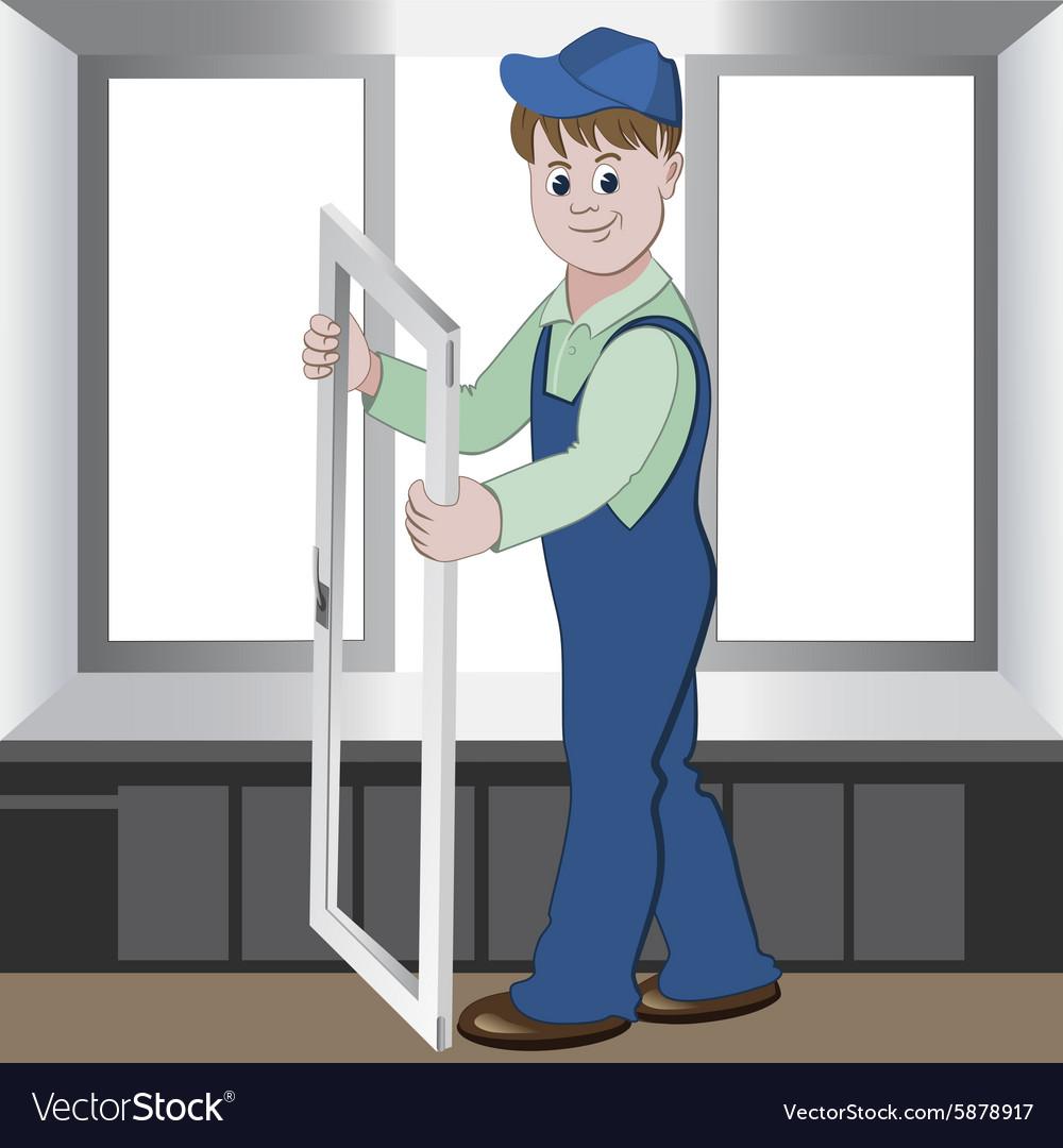 Worker installs or repairs plastic window vector image