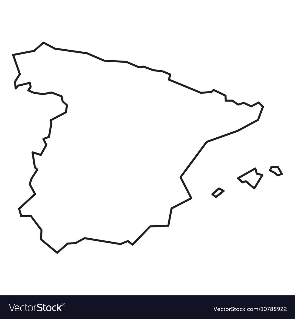 Map Of Spain Vector Free.Black Contour Map Of Spain