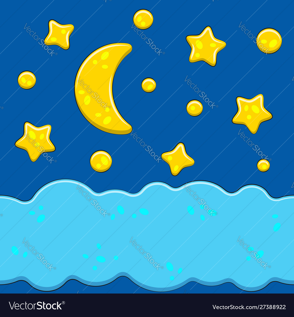 Bright images with night sky moon stars