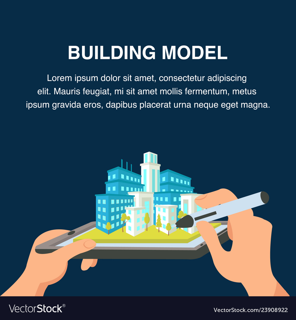 Building model website banner 3d cityscape