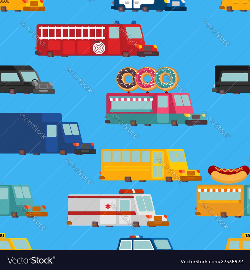 Car cartoon seamless pattern fire engine and