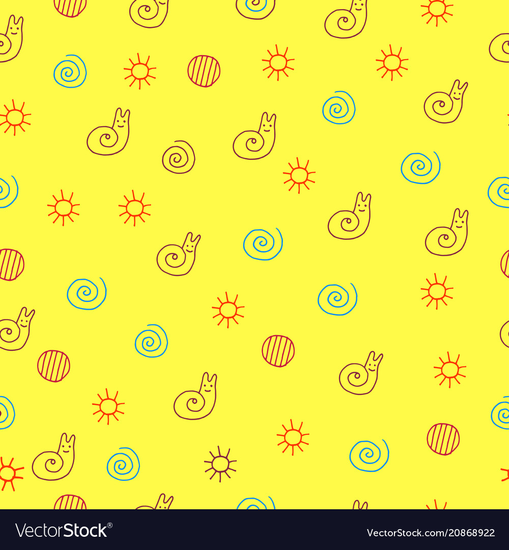 Children drawing of snail seamless pattern doodle