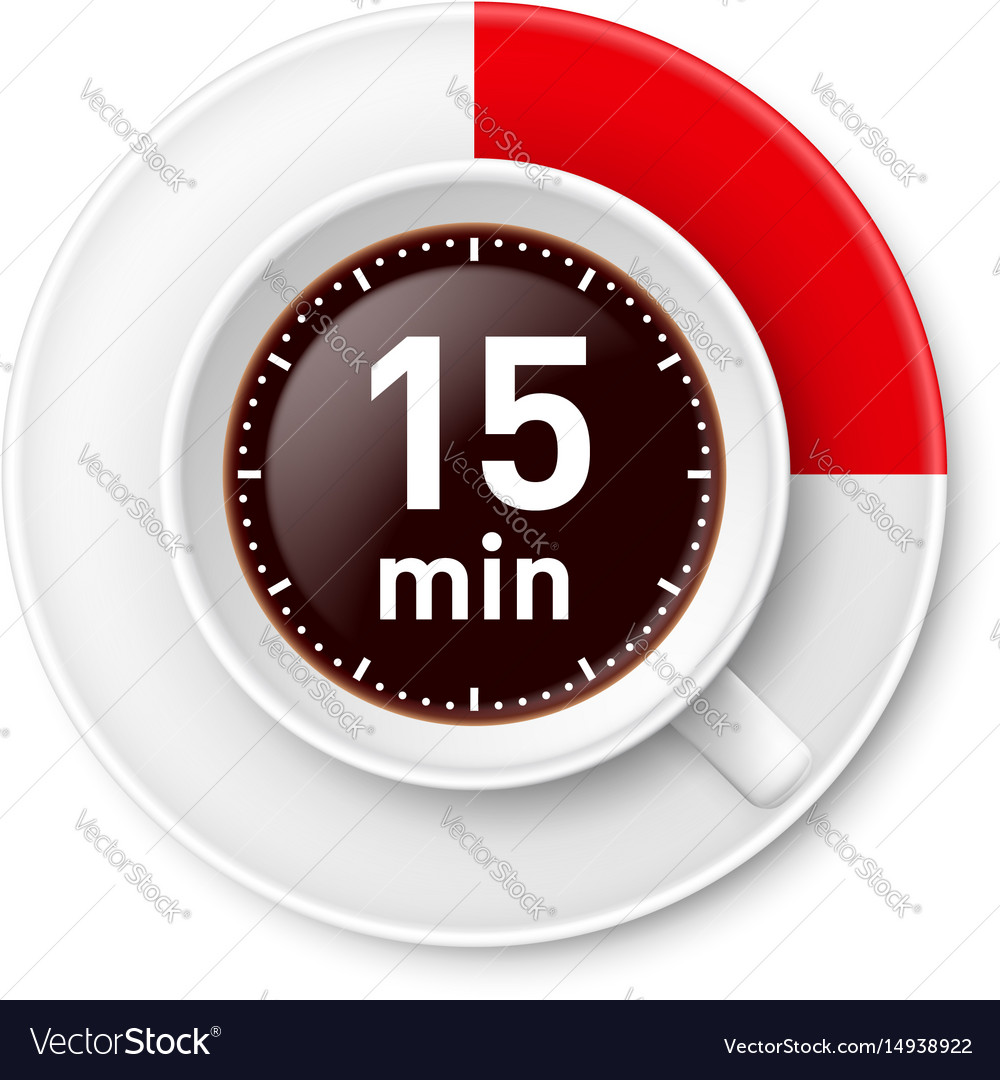 Cup of coffee with time limit for break fiiteen vector image