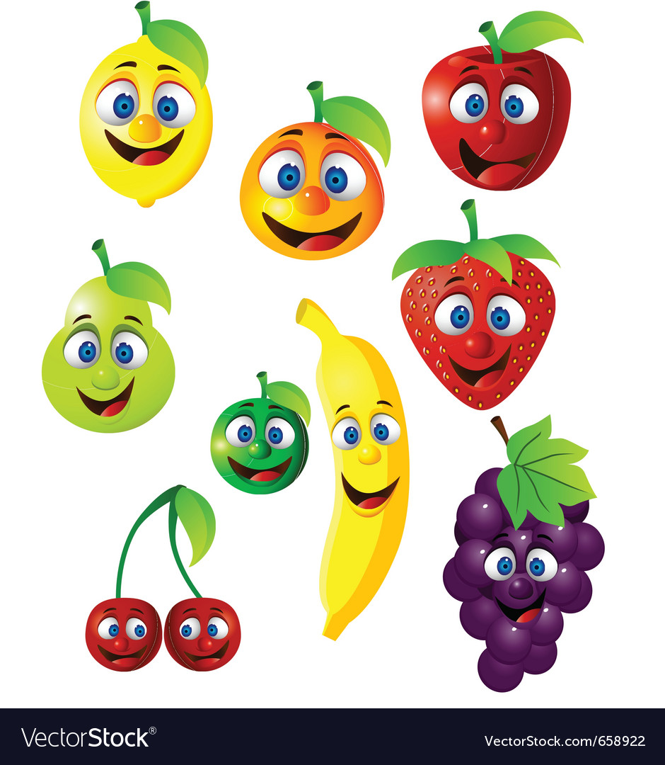 fruit cartoon royalty free vector image vectorstock rh vectorstock com free cartoon fruit pictures cartoon fruit pictures to print