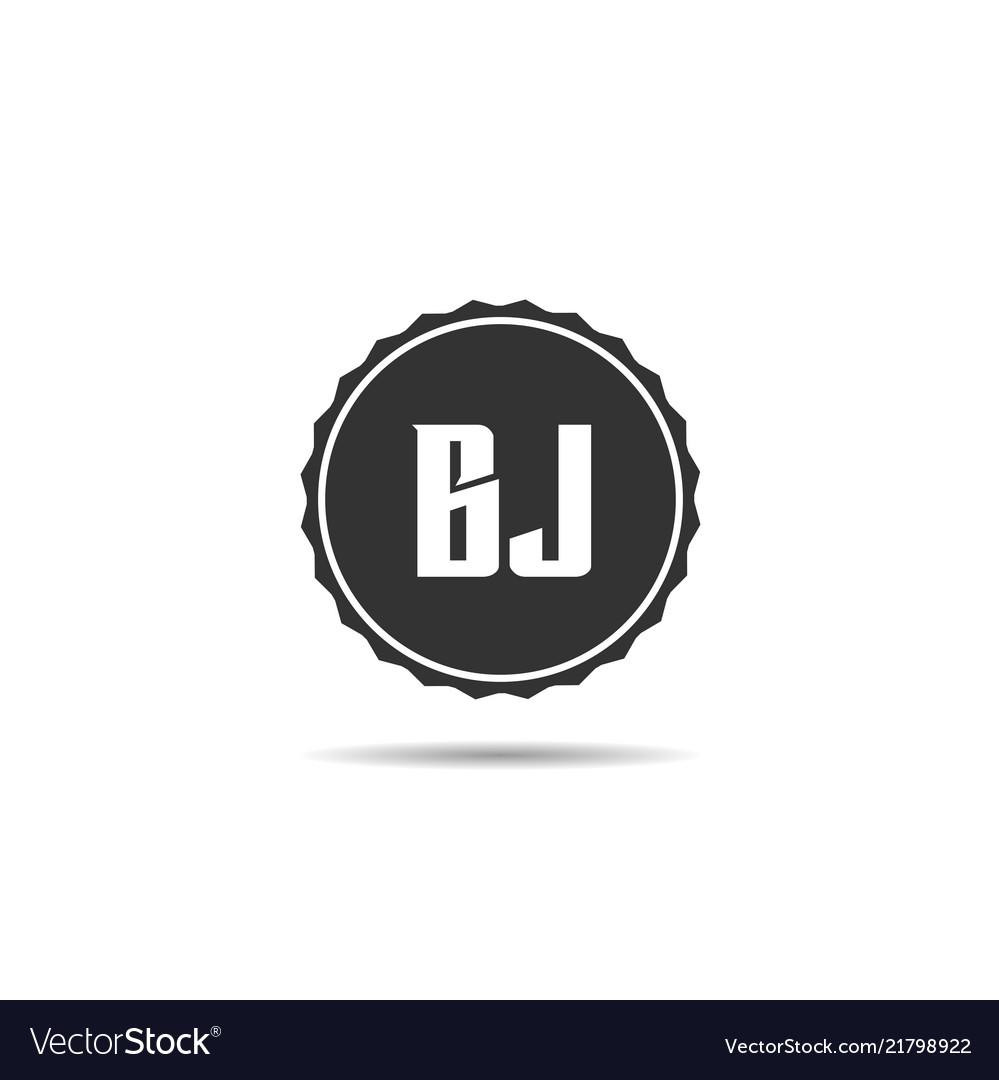 initial letter bj logo template design vector image