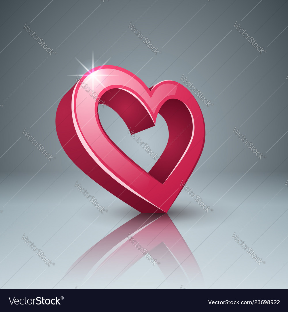 Realistic 3d icon heart and love
