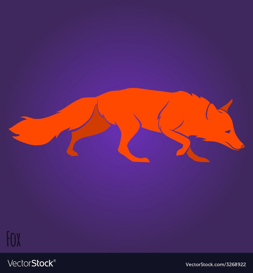 Red running fox silhouette