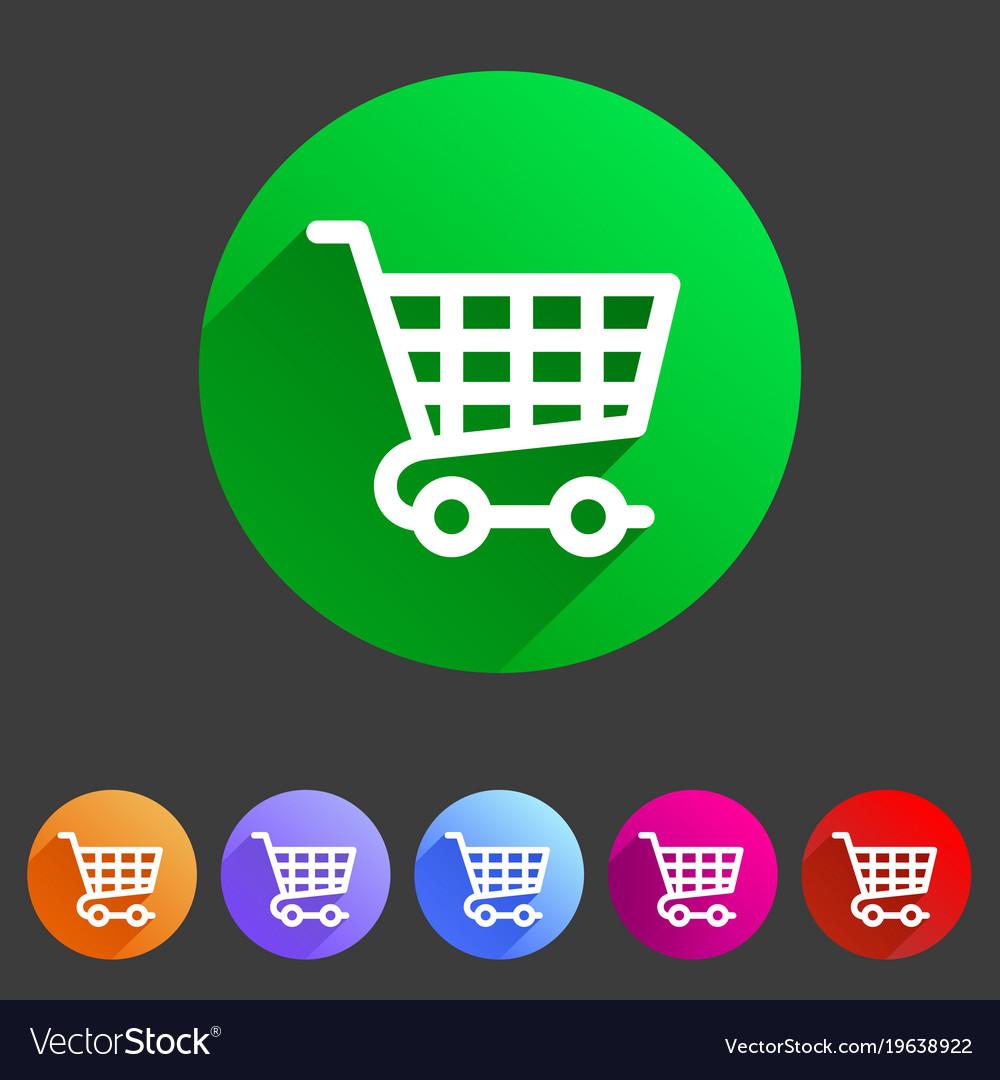 Shopping cart icon flat web sign symbol logo label