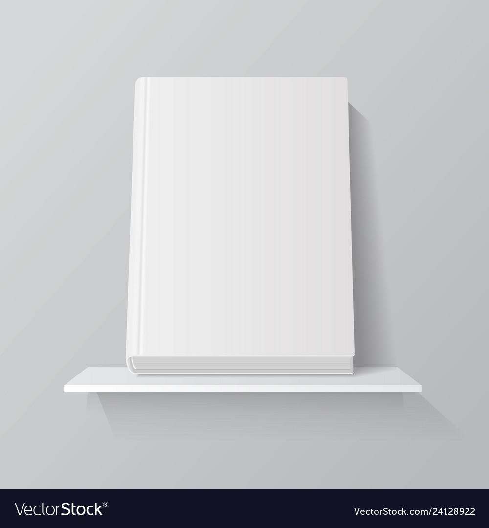 White empty book on shelf