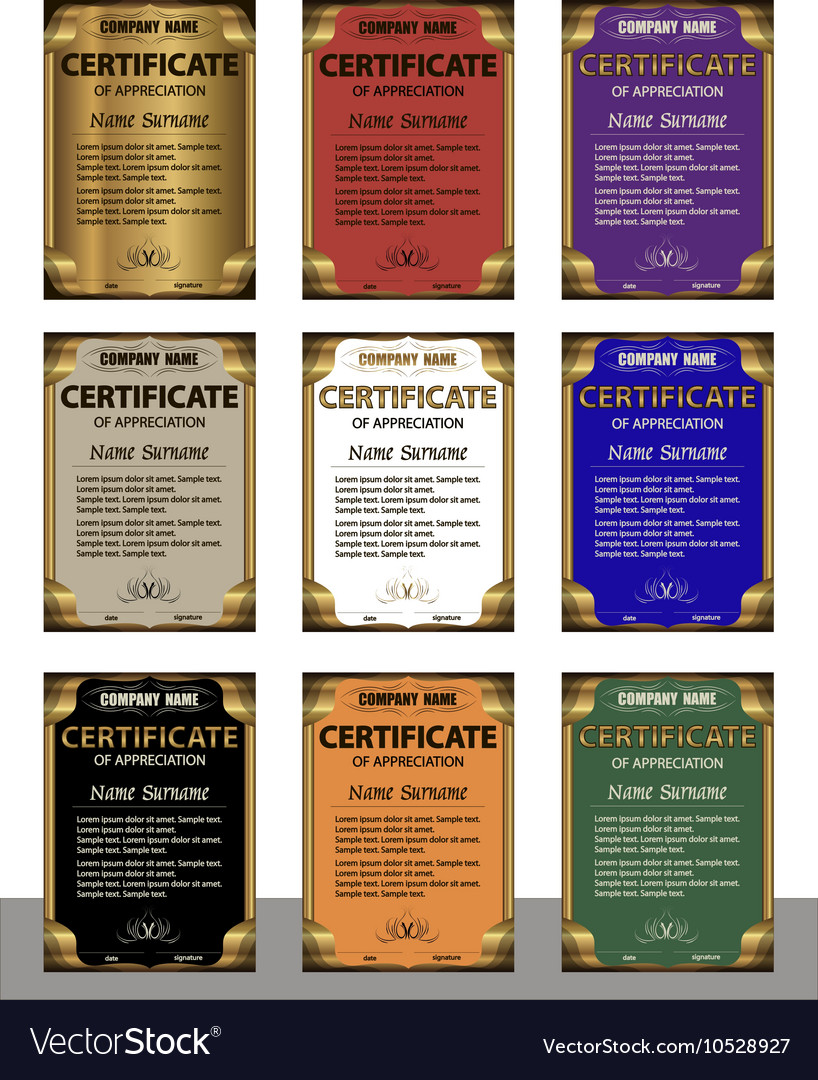 A set of templates of the diploma in six colors