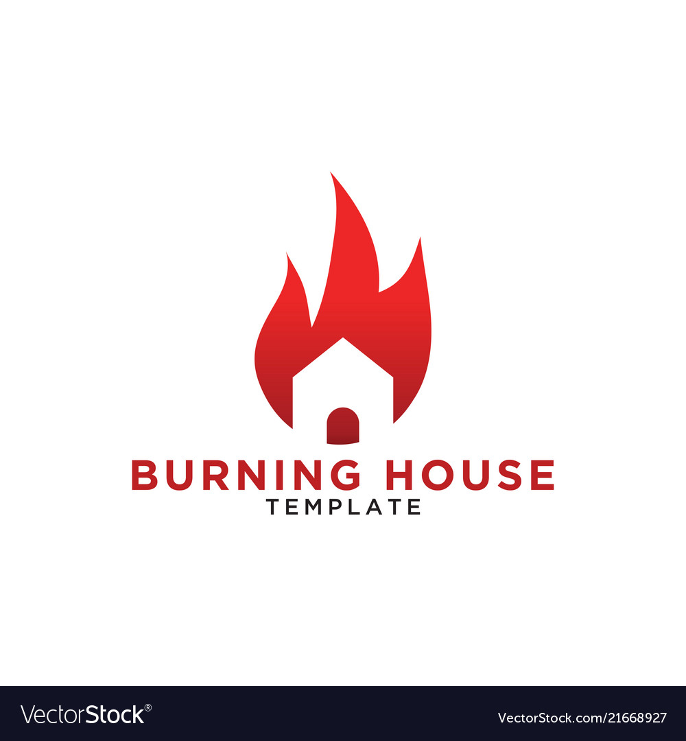 Burning house logo design template