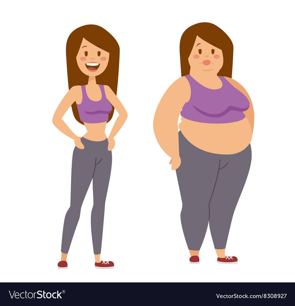 Cartoon character of fat woman and thin girl vector image