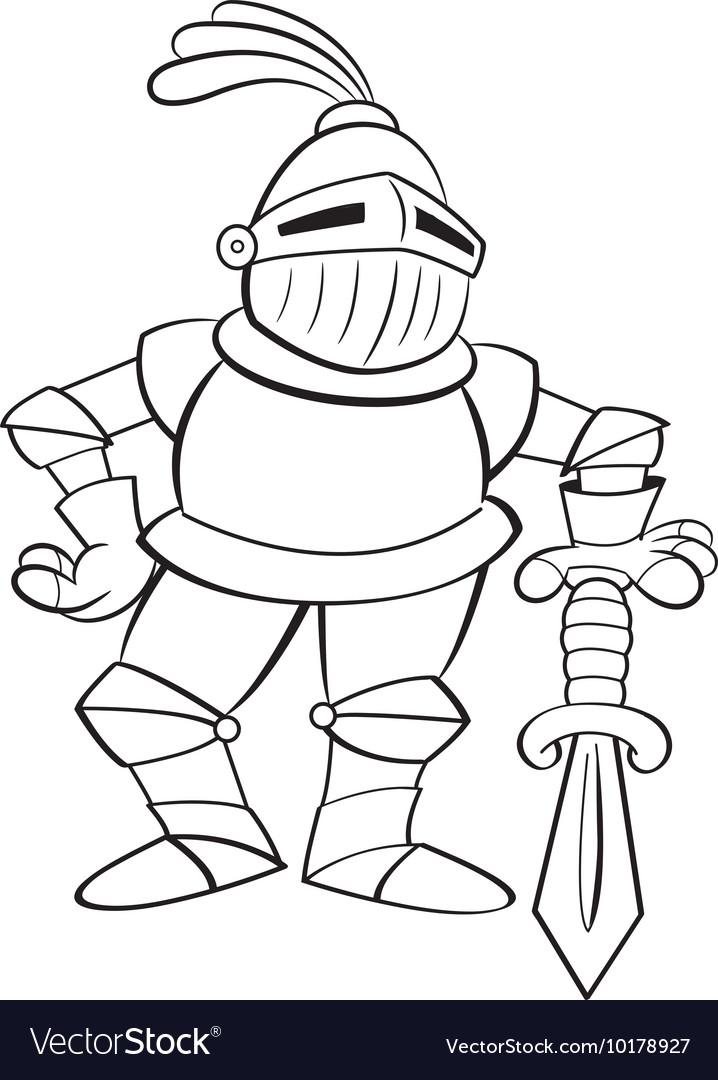 Cartoon Knight Leaning on a Sword