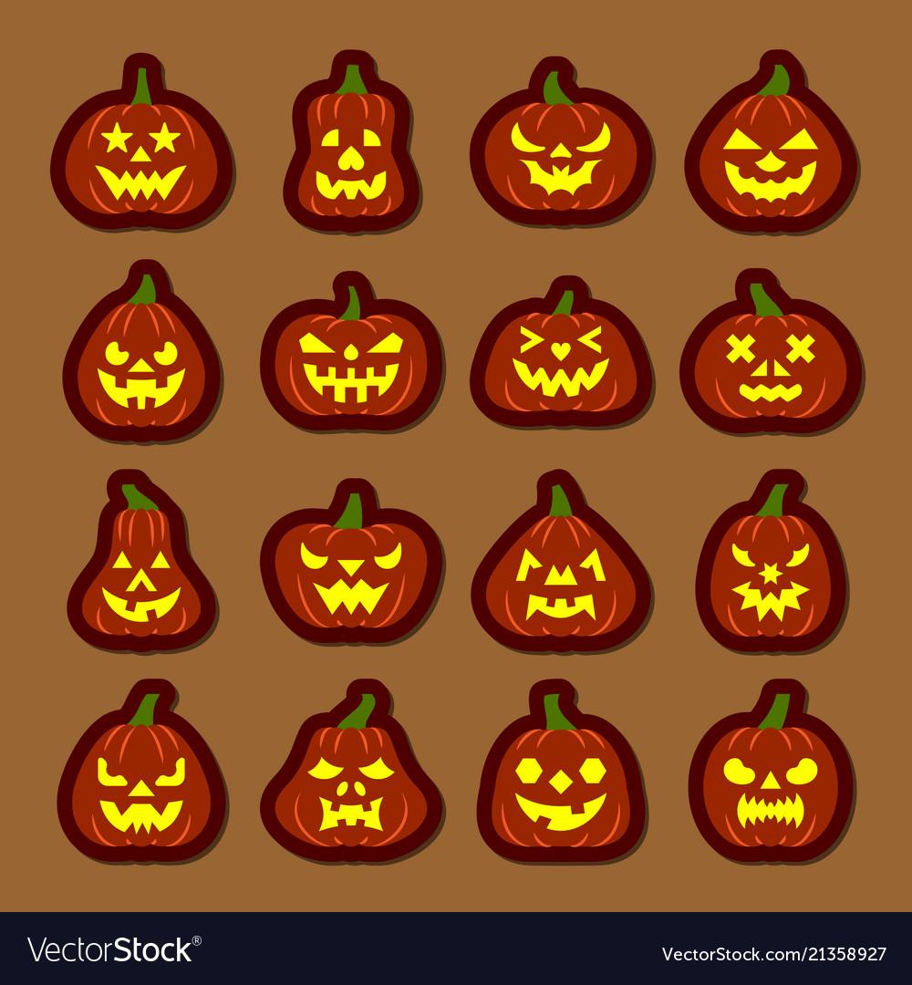 Carving Face Halloween Pumpkin Icon Sticker Set Vector Image