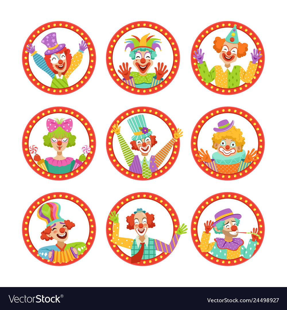 Clown faces set funny circus characters
