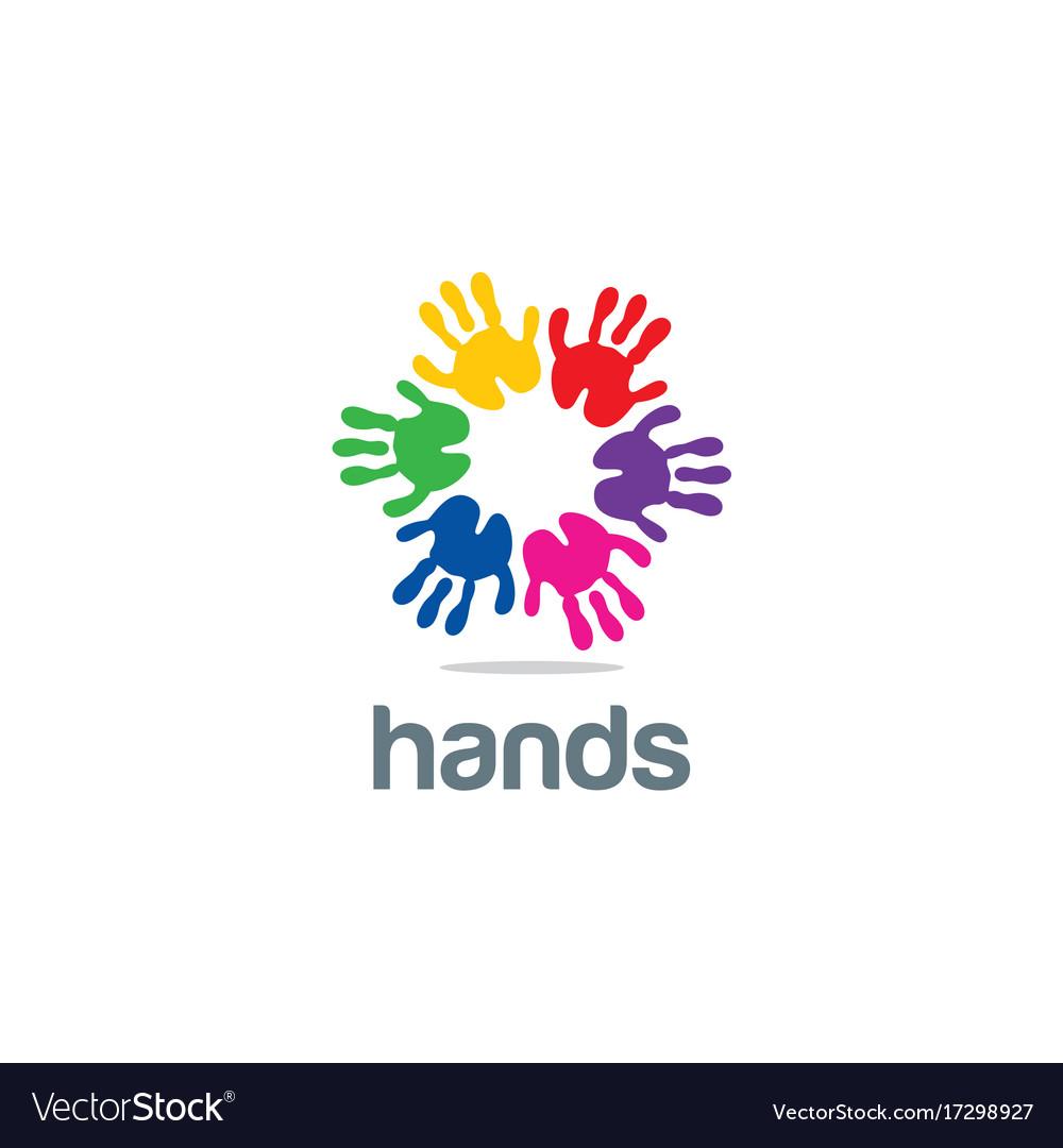 Hands colorful circle logo