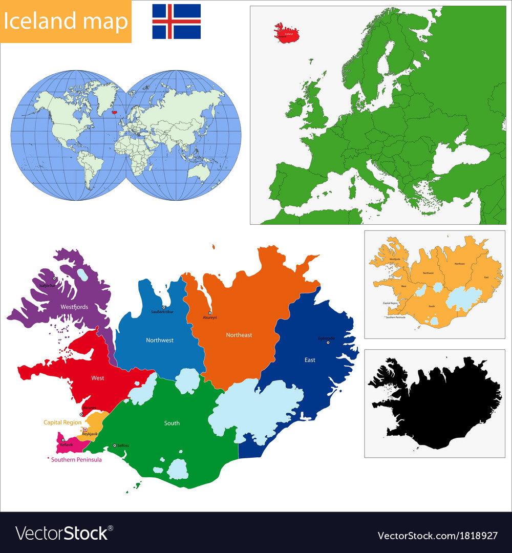 Iceland map Royalty Free Vector Image - VectorStock